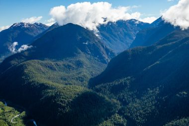 An aerial view of the intact McKelvie Valley near Tahsis