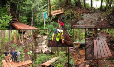 A collage of images featuring various sections of the Avatar Grove boardwalk completed over the May Long Weekend.
