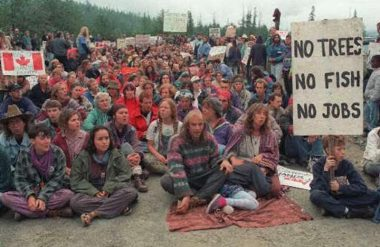 Clayoquot Sound protesters at a blockade in 1993.