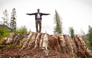 Liberal MP Keith Martin stands on top of a massive