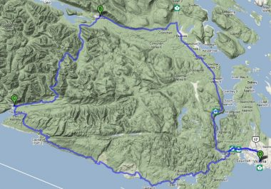 A map of the riders 260km round trip Big Trees Pedal Powered Tour.