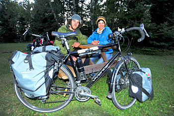 Nigel Jackett (left) and Jaime Hall are hoping to catalogue as many as 400 bird species as they cycle across Canada